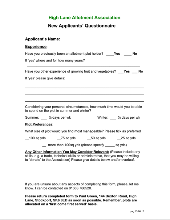 New Applicant's Form